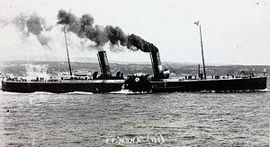 SS Mona (1889) - Mona leaving Douglas.