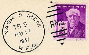 "Railway Mail Service - Railway Mail Service (note the ""RMS"" in the obliterator) postal cancellation"