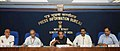 Radha Mohan Singh briefing the media about the initiatives and achievements of the ministry, in New Delhi. The Minister of State for Agriculture and Food Processing Industries, Dr. Sanjeev Kumar Balyan, the Secretary.jpg