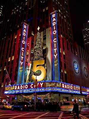 Radio City Music Hall - Marquee in January 2008 during the Christmas Spectacular