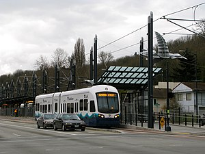 Rainier Beach station - A test train at Rainier Beach station prior to its opening