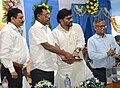 Rajen Gohain and the Minister of State for Heavy Industries & Public Enterprises, Shri Babul Supriyo dedicating to the nation the new Bolpur road over bridge connecting Bolpur and Prantik stations under Eastern Railways.jpg