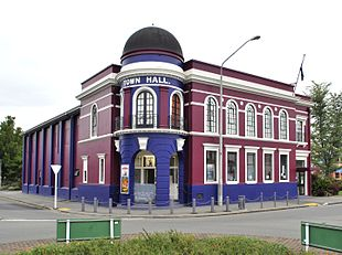 Rangiora's town hall in 2010. It has since undergone extensive renovations.