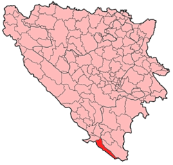 Location of Ravno within Bosnia and Herzegovina.