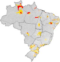 Mapa do Brasil com a localização das regiões metropolitanas (em vermelho o núcleo da RM e em amarelo os outros membros da RM).