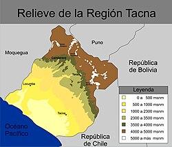 Mapa de relieve de la región Tacna.