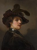 Rembrandt van Rijn - 'Tronie' of a Man with a Feathered Beret - 149 - Mauritshuis.jpg