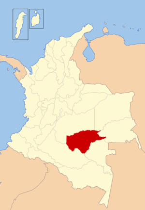 Operation Jaque - The Guaviare Department highlighted in red, was the area of operations.