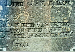 "Resurrection of the dead - Detail from a North Mississippi Christian cemetery headstone with the inscription: ""May the resurrection find thee On the bosom of thy God."""