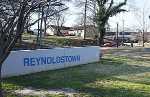 Reynoldstown, Atlanta - Gateway Park - sign and sculpture (design Brett J Harris)