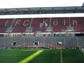 Terrace (stadium) - Terraced at bottom and seating at top at the RheinEnergieStadion in Germany, home of top flight club 1. FC Köln