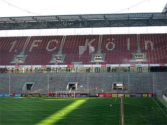 Terrace (stadium) - Terraced at bottom and seating at top at the RheinEnergieStadion in Germany, home of 2. Bundesliga club 1. FC Köln