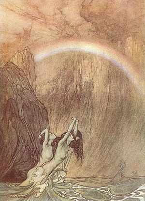 Rhinemaidens - The Rhinemaidens lament the loss of the gold as, far above, the gods cross the rainbow bridge into Valhalla. Das Rheingold, Scene IV (Arthur Rackham)