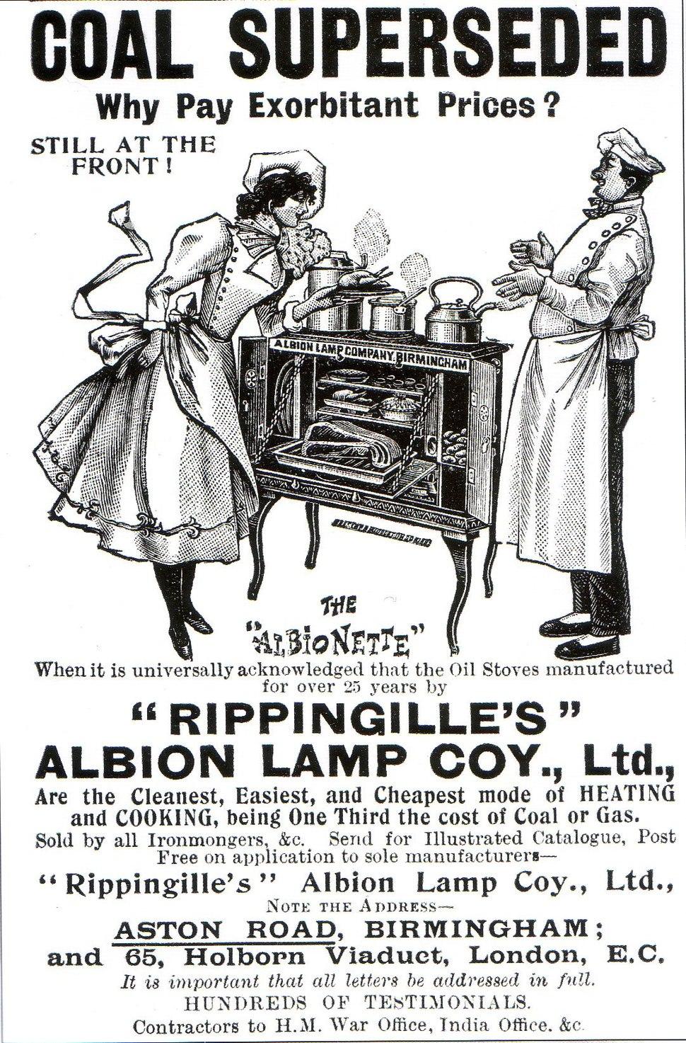 Rippingille Albion Lamp Coy c1900 advert