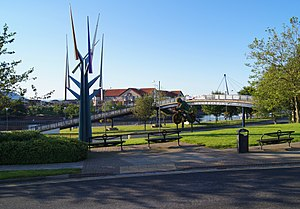 Stockton-on-Tees - Aeolian Motion wind sculpture and view of the riverside at Stockton-on-Tees