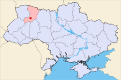 Map of Ukraine (blue) with Rivne Oblast and Ostroh (red).
