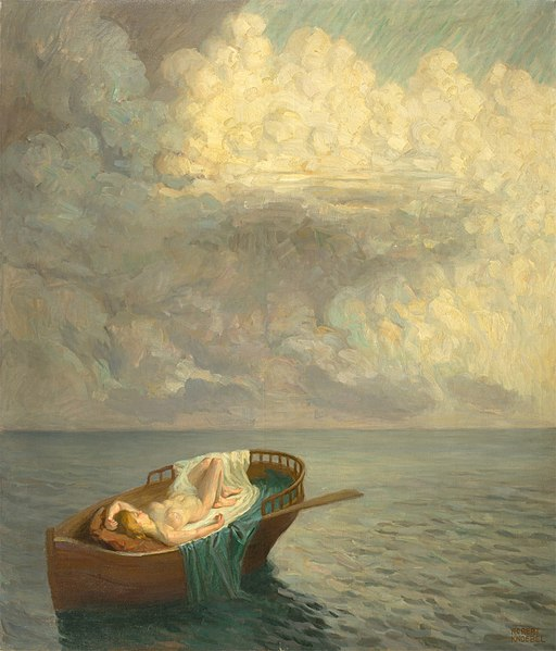 Robert Knoebel - Träumende Frau im Boot