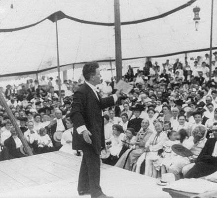 Governor La Follette of Wisconsin addressing the Chautauqua assembly in Decatur, Illinois in 1905. Robert M. La Follette, Sr as Senator2.jpg