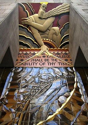 "Léon-Victor Solon - ""Wisdom"" at 30 Rockefeller Plaza. Verse from Isaiah 33:6. Sculptor Lee Lawrie and Colorist Leon V. Solon"