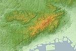 Rokkō Mountains Relief Map, SRTM-1.jpg
