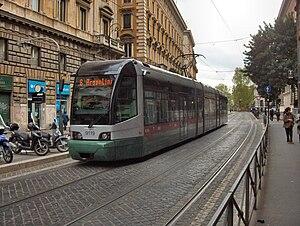 Transport in Rome - Tram approaching Teatro Argentina terminus