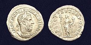 Felicitas - AR Denarius of Macrinus, reverse side with 'FELICITAS TEMPORVM'.