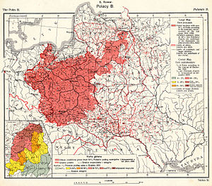Eugeniusz Romer - Plate XI from the 1921 edition of Romer's Atlas, showing the distribution of Poles