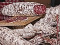 A display of different salami's.