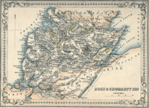Cromartyshire - 1861 map of Ross-shire and Cromartyshire, the latter outlined in yellow.