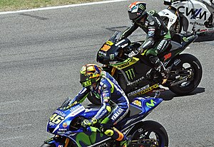 Bradley Smith (motorcyclist) - Smith alongside Valentino Rossi at the 2015 Catalan Grand Prix
