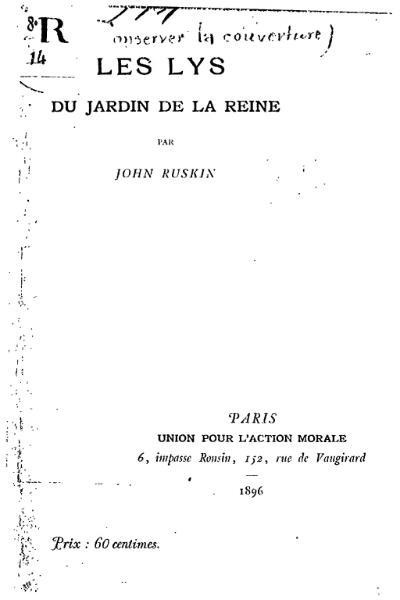 File:Ruskin - Les Lys du jardin de la reine.djvu