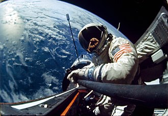 Buzz Aldrin - Aldrin in space, with the spacecraft and Earth