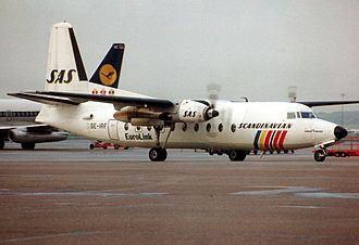 SAS Commuter - A Fokker F27-600 Friendship at Hamburg Airport in 1989