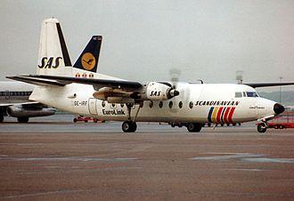 SAS Commuter - A Fokker F27-600 Friendship at Hamburg Airport in 1989