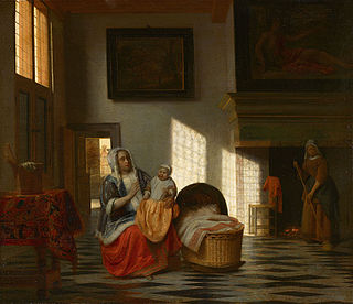 <i>Mother with a Child and a Chambermaid</i> painting by Pieter de Hooch