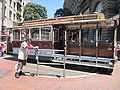 SF cable car no. 1 being turned on Powell St. 2.JPG