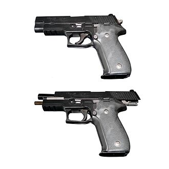 Pistol slide - A SIG Sauer P226 with slide closed (top) and opened (bottom). On the bottom view, slide is locked in place by the slide stop.
