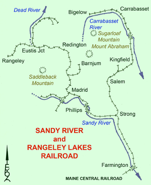 Sandy River And Rangeley Lakes Railroad Wikipedia - Map of maine rivers