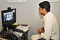 Sachin Pilot speaking through video link to the Chief Minister of Goa, Shri Digambar Kamat to extended his condolences to the victims of the Mumbai attack, in New Delhi on July 14, 2011.jpg