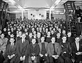 Sailors watch a film in the cinema aboard the AUTOCARRIER, a cross channel steamer adapted as a recreation ship at Scapa Flow, June 1943. A17407.jpg