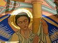 Saint Aloysius Church (Bowling Green, Ohio) - sanctuary mural detail, angel holding the scourging pillar.jpg