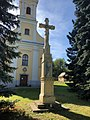 Saint Andrew Catholic Church with stone cross in Balatonendréd.jpg