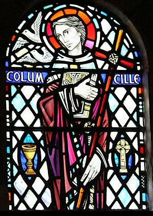 Columba - Saint Columba. Stained glass window in Iona Abbey