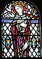 Saint Columba, on a stained glass window in Iona Abbey, via Wikipedia