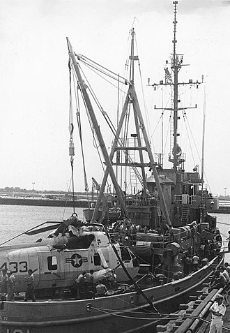USS Salinan (ATF-161) - USS Salinan (ATF-161) in port, with an SH-3 Sea King helicopter on her deck, June 1976. She had recovered the helicopter from seventy feet of water after it crash-landed and sank ten miles off the coast of Ponte Vedra, southeast of Mayport, Florida. The aircraft belonged to Helicopter Antisubmarine Squadron One (HS-1), based at Naval Air Station Jacksonville, Florida.