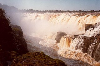 Guaíra Falls Submerged waterfall on the Paraná River in Brazil and Paraguay. Largeat waterfall in South America by flow rate until 1982.
