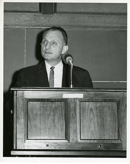 Samuel N. Alexander in 1964, speaking at the SEAC computer retirement ceremony.