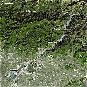 San Gabriel Dam - Satellite view showing four major dams in the San Gabriel River system. San Gabriel (above right) was built in conjunction with Cogswell (top left) in the 1930s.