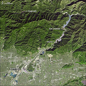 Santa Fe Dam - Satellite view of four of the five major dams on the San Gabriel River system. Santa Fe Dam is the large structure on the bottom left (southwest).