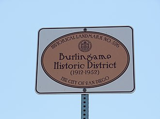 Burlingame, San Diego - Burlingame Historic District sign